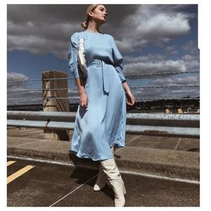 Zara belted satin effect dress (7385)